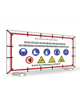 Warnhinweisbanner für Baustellen individuelle Größen PVC-Plane
