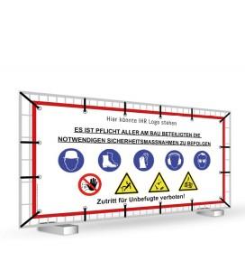 Warnhinweisbanner für Baustellen 330 cm x 170 cm MESH
