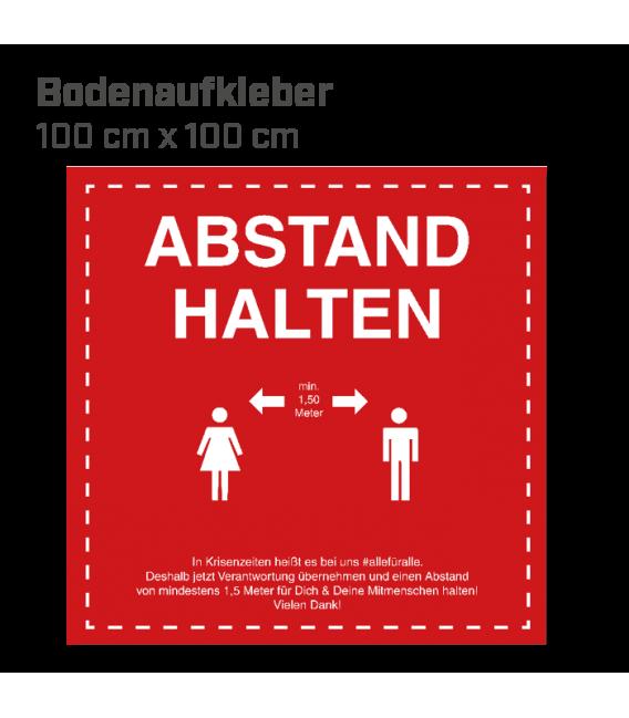 Abstand halten - Bodenaufkleber eckig 100x100 INDOOR / OUTDOOR - Rot