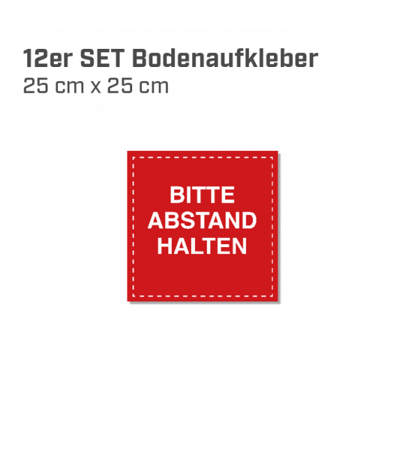 Bitte Abstand halten - 12er Set Bodenaufkleber eckig 25x25 INDOOR / OUTDOOR -  Rot