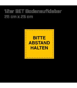 Bitte Abstand halten - 12er Set Bodenaufkleber eckig 25x25 INDOOR / OUTDOOR -  Gelb
