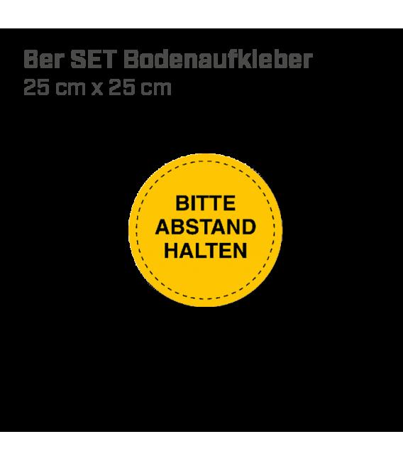 Bitte Abstand halten - 6er Set Bodenaufkleber Durchmesser 25 cm  INDOOR / OUTDOOR - Gelb