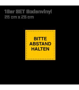 Bitte Abstand halten - 16er Set Bodenvinyl eckig 25x25 - Gelb