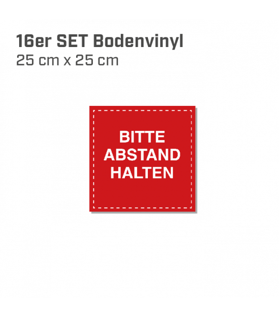 Bitte Abstand halten - 16er Set Bodenvinyl eckig 25x25 - Rot