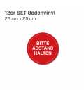 Bitte Abstand halten - 12er Set Bodenvinyl kreisrund Durchmesser 25 cm - Rot