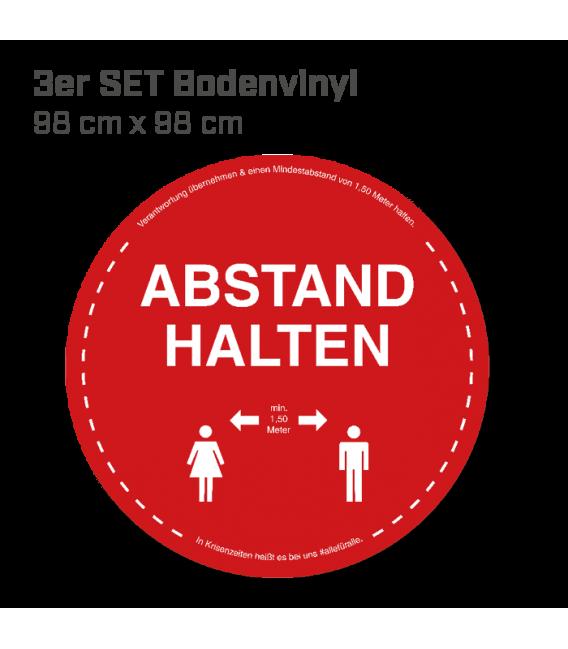 Abstand halten - 3er Set Bodenvinyl kreisrund Durchmesser 98 cm - Rot