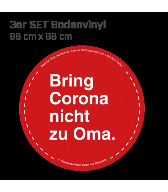 Bring Corona nicht zu Oma - 3er Set Bodenvinyl kreisrund Durchmesser 98 cm - Rot