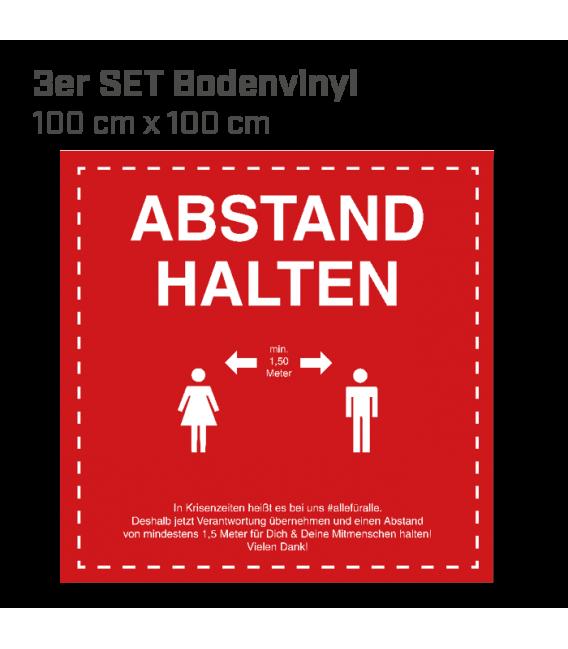 Abstand halten - 3er Set Bodenvinyl eckig 100x100 - Rot