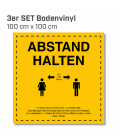 Abstand halten - 3er Set Bodenvinyl eckig 100x100 - Gelb