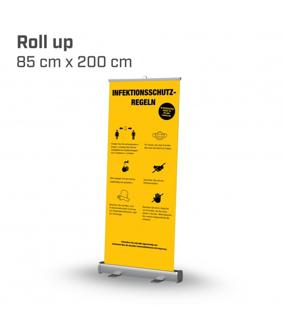 Infektionsschutzregeln Roll up 85x200 - Gelb
