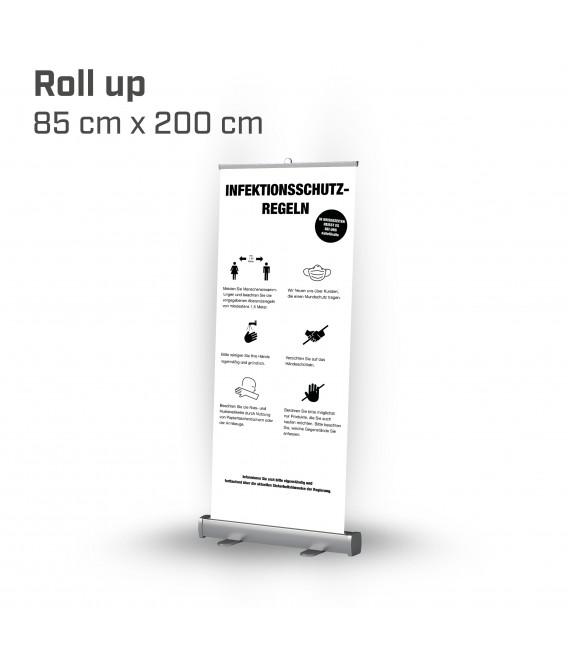 Infektionsschutzregeln Roll up 85x200 - Weiß